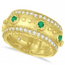 Emerald Byzantine Antique Anniversary Band 14k Yellow Gold (1.06ct)