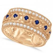 Blue Sapphire Byzantine Vintage Anniversary Band 14k Rose Gold (1.15ct)