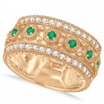 Emerald Byzantine Vintage Anniversary Band 14k Rose Gold (1.15ct)