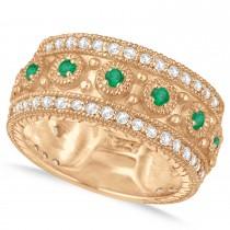 Emerald Byzantine Vintage Anniversary Band 14k Rose Gold (1.15ct)