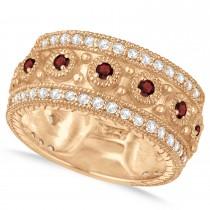 Garnet Byzantine Vintage Anniversary Band 14k Rose Gold (1.15ct)