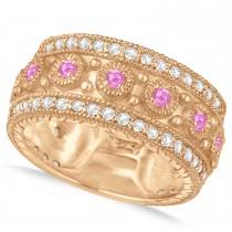 Pink Sapphire Byzantine Vintage Anniversary Band 14k Rose Gold (1.15ct)
