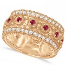 Ruby Byzantine Vintage Anniversary Band 14k Rose Gold (1.15ct)