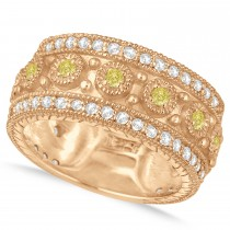 Yellow Diamond Byzantine Vintage Anniversary Band 14k Rose Gold (1.15ct)