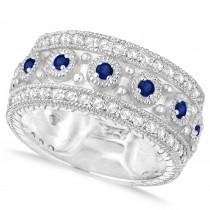 Blue Sapphire Byzantine Vintage Anniversary Band 14k White Gold (1.15ct)