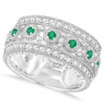 Emerald Byzantine Vintage Anniversary Band 14k White Gold (1.15ct)