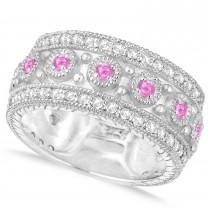Pink Sapphire Byzantine Vintage Anniversary Band 14k White Gold (1.15ct)
