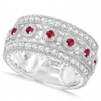 Ruby Byzantine Vintage Anniversary Band 14k White Gold (1.15ct)