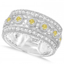 Yellow Diamond Byzantine Vintage Anniversary Band 14k White Gold (1.15ct)