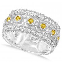 Yellow Sapphire Byzantine Vintage Anniversary Band 14k White Gold (1.15ct)