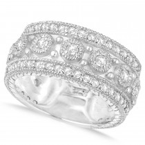 Diamond Byzantine Vintage Anniversary Band 14k White Gold (1.15ct)