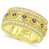 Amethyst Byzantine Vintage Anniversary Band 14k Yellow Gold (1.15ct)