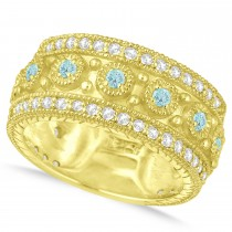 Aquamarine Byzantine Vintage Anniversary Band 14k Yellow Gold (1.15ct)