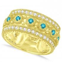 Blue Diamond Byzantine Vintage Anniversary Band 14k Yellow Gold (1.15ct)