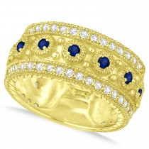 Blue Sapphire Byzantine Vintage Anniversary Band 14k Yellow Gold (1.15ct)