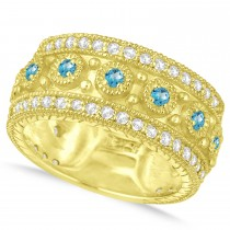Blue Topaz Byzantine Vintage Anniversary Band 14k Yellow Gold (1.15ct)