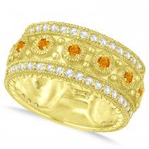 Citrine Byzantine Vintage Anniversary Band 14k Yellow Gold (1.15ct)