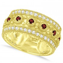Garnet Byzantine Vintage Anniversary Band 14k Yellow Gold (1.15ct)