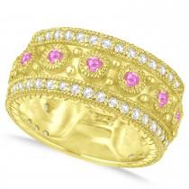 Pink Sapphire Byzantine Vintage Anniversary Band 14k Yellow Gold (1.15ct)