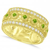 Peridot Byzantine Vintage Anniversary Band 14k Yellow Gold (1.15ct)