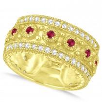 Ruby Byzantine Vintage Anniversary Band 14k Yellow Gold (1.15ct)