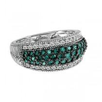 White & Blue Diamond Right-Hand Ring 14k White Gold (1.00ct)|escape