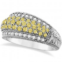 White & Yellow Canary Diamond Right-Hand Ring 14k White Gold (1.01ct)