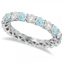 Luxury Diamond & Aquamarine Eternity Ring Band 14k White Gold (4.20ct)