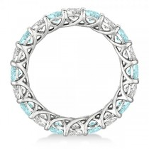 Luxury Diamond & Aquamarine Eternity Ring Band 14k White Gold (4.20ct)|escape
