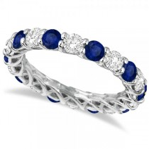 Luxury Diamond & Blue Sapphire Eternity Ring Band 14k White Gold 4.20ct