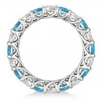 Luxury Diamond & Blue Topaz Eternity Ring Band 14k White Gold (4.20ct)