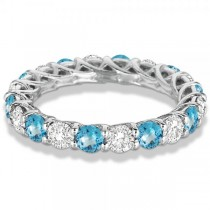 Luxury Diamond & Blue Topaz Eternity Ring Band 14k White Gold (4.20ct)