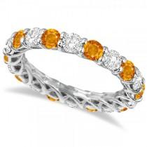 Luxury Diamond & Citrine Eternity Ring Band 14k White Gold (4.20ct)