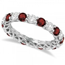 Luxury Diamond & Garnet Eternity Ring Band 14k White Gold (4.20ct)