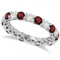 Luxury Diamond & Garnet Eternity Ring Band 14k White Gold (4.20ct)