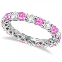 Luxury Diamond & Pink Sapphire Eternity Ring Band 14k White Gold 4.20ct