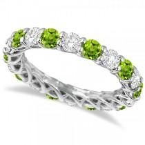 Luxury Diamond & Peridot Eternity Ring Band 14k White Gold (4.20ct)