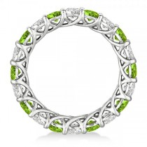Luxury Diamond & Peridot Eternity Ring Band 14k White Gold (4.20ct)
