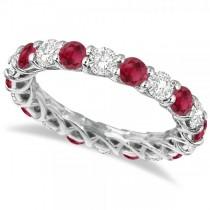 Luxury Diamond & Ruby Eternity Ring Band 14k White Gold (4.20ct)