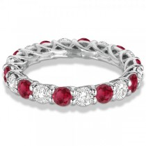 Luxury Diamond & Ruby Eternity Ring Band 14k White Gold (4.20ct)