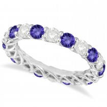 Luxury Diamond & Tanzanite Eternity Ring Band 14k White Gold (4.20ct)