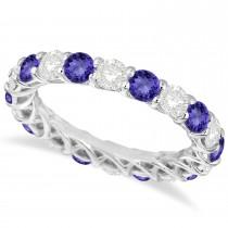 Luxury Diamond & Tanzanite Eternity Ring Band 14k White Gold (4.20ct)