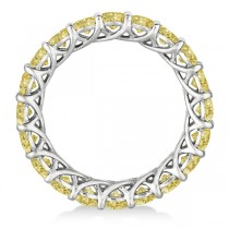 Fancy Yellow Canary Diamond Eternity Ring Band 14k White Gold (3.50ct)