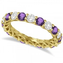 Luxury Diamond & Amethyst Eternity Ring Band 14k Yellow Gold (4.20ct)