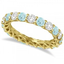 Luxury Diamond & Aquamarine Eternity Ring Band 14k Yellow Gold 4.20ct