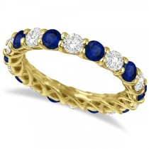 Luxury Diamond & Blue Sapphire Eternity Ring Band 14k Yellow Gold 4.20ct