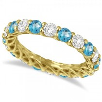 Luxury Diamond & Blue Topaz Eternity Ring Band 14k Yellow Gold 4.20ct
