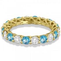 Luxury Diamond & Blue Topaz Eternity Ring Band 14k Yellow Gold 4.20ct