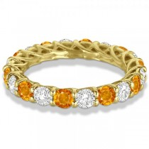 Luxury Diamond & Citrine Eternity Ring Band 14k Yellow Gold (4.20ct)