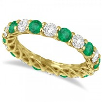 Luxury Diamond & Emerald Eternity Ring Band 14k Yellow Gold (4.20ct)